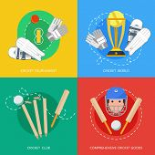 foto of cricket ball  - Outdoor cricket game equipment four flat icons composition with bat trophy and gloves abstract isolated vector illustration - JPG