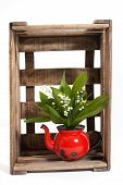 pic of wooden crate  - Lilies of the valley in a wooden crate - JPG