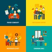 picture of coworkers  - Coworking space center design concept set with friendly community professional support independent activity flat icons isolated vector illustration - JPG