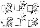 Chefs holding blank menu or recipe