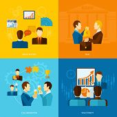 stock photo of partnership  - Partnership design concept set with negotiations deal collaboration investment flat icons isolated vector illustration - JPG