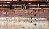 pic of barge  - Detailed old rusted barge hull background photo texture - JPG