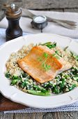 foto of kidney beans  - Fried salmon with brown rice - JPG