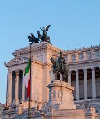 picture of emanuele  - Monuments and Statues at the Vittoriano Emanuele Monument in central Rome at sunset - JPG