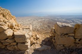 stock photo of masada  - View from Masada in Israel to the dead sea - JPG