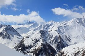 picture of mountain-range  - Snowy mountains in Alps of France - JPG
