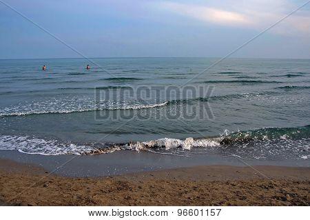 Lido di Jesolo coast beach at dusk