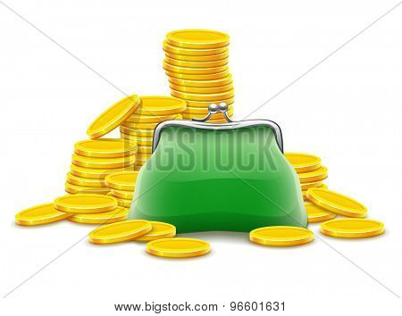 Purse and gold coins cash money. Eps10 vector illustration. Isolated on white background