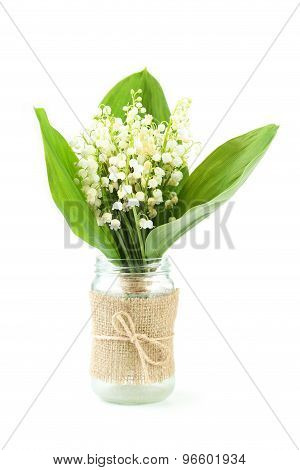 Lily Of The Valley In Bottle Isolated On White