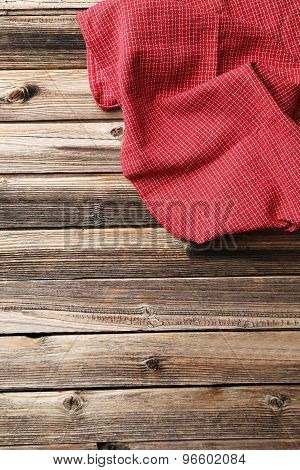 Napkin on the wooden table, close up