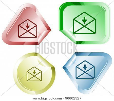 mail downarrow. Vector sticker.
