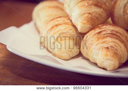 Croissant bread ( Filtered image processed vintage effect. )