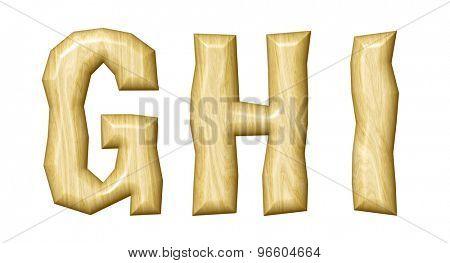 Wooden alphabet isolated on white background.