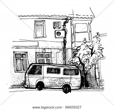 Ink Sketch Van Parking Near The House