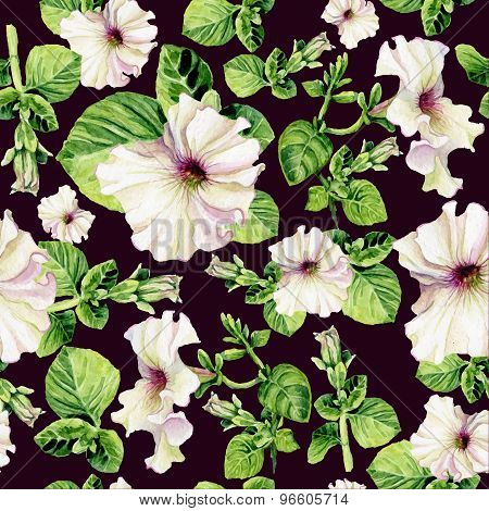 Seamless Background With Watercolors Petunia