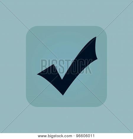 Pale blue tick mark icon