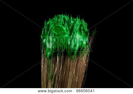 Paint Brush Painting With Green Color