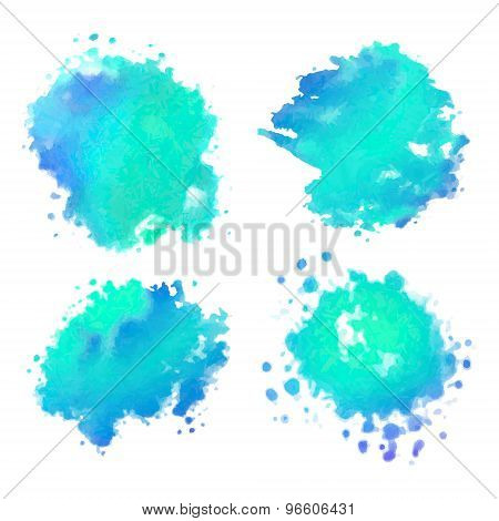 Vector Watercolor Stains Set