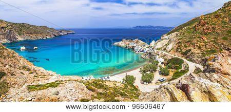 Beautiful Greek islands - Milos, panoramic view with Fyropotamos