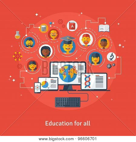 Vector illustration concept of education and online learning.