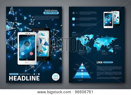 Set of Vector Poster Templates with Wireframe Elements and Phones