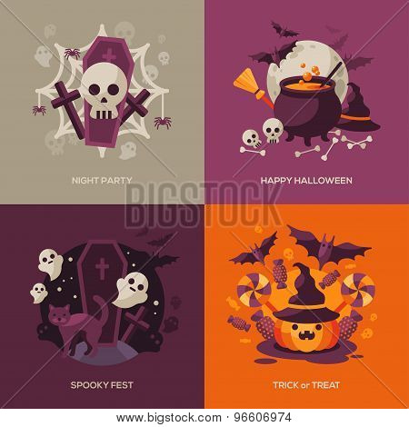 Set of Halloween Concepts. Vector Illustration.