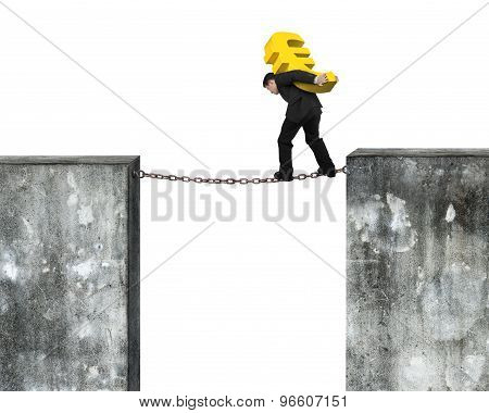 Businessman Carrying Golden Euro Sign Balancing On Rusty Chain