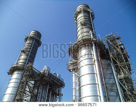 Structure of power plant on blue sky