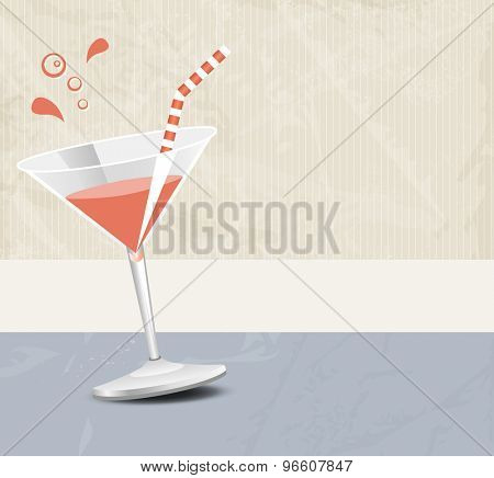 Cocktail party background banner in soft retro colors - bar menu