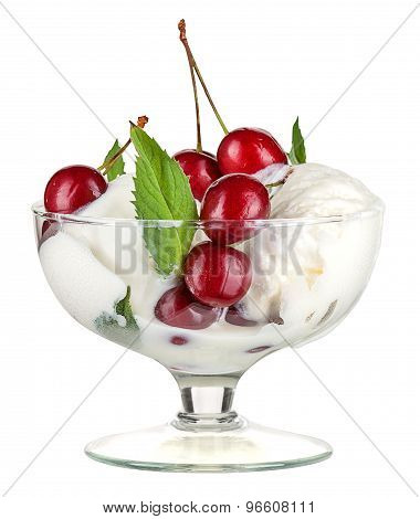 Ice Cream With Fruits And Cherries Isolated