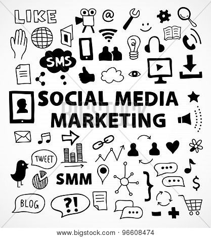 Social media marketing symbols and thems hand drawn style for infographics