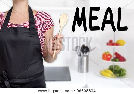 Meal Cook Holding Wooden Spoon Background