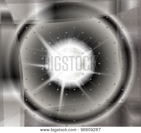 Abstract black and white technical background with burst