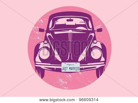 Vector Illustration Of Beetle With Just Married Plate