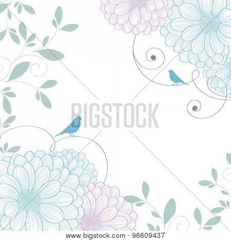 Hand-drawing floral background with flower chrysanthemum and bird. Element for design. Vector illustration.