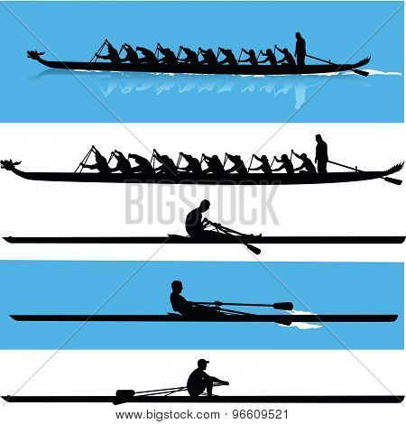 Rowing silhouette vector