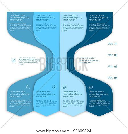 Set of infographic template layouts. Flow chart secuence numbered banner design