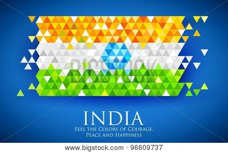 illustration of abstract India Background in tricolor triangle