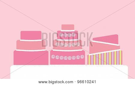 Vector Illustration Of 3-tier Wedding Cakes
