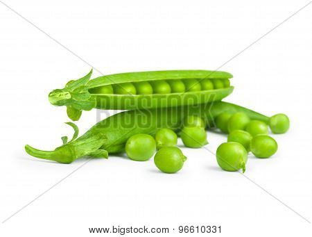 Green Fresh Peas In Pods Isolated On White Background