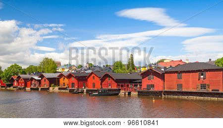 Houses On The River Coast, Porvoo Town, Finland