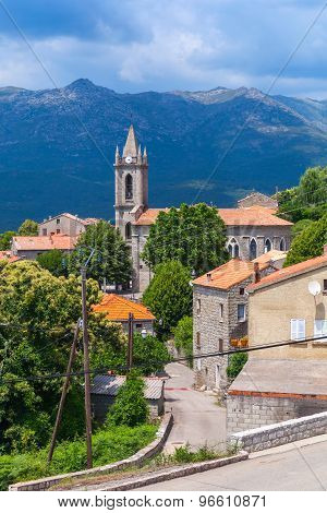 Houses And Bell Tower. Zonza, South Corsica
