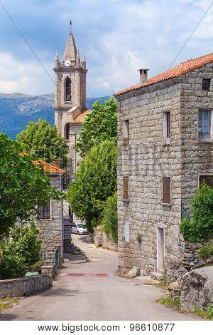Typical Corsican Village Street Landscape
