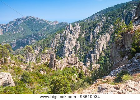 Corsica Island, Landscape With Rocky Mountains