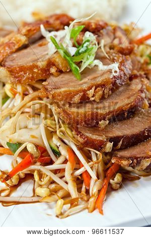 Roasted Meat With Vegetables .  Korean Cuisine.