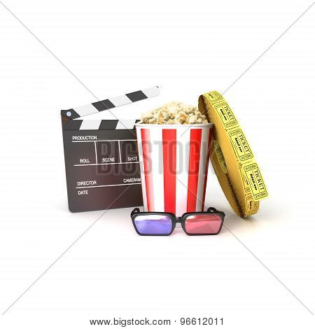 Film(clapper, Popcorn,tickets, 3Dglasses)