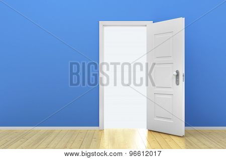 Opened Door In The Empty Blue Room
