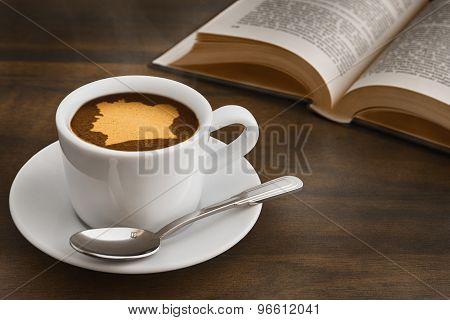 Still Life - Coffee With Map Of Ivory Coast