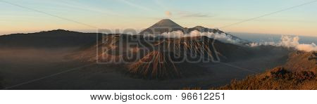 Sunrise over Mount Bromo (2,329 m) and the Tengger Caldera in East Java, Indonesia. Panorama from Mount Penanjakan (2,770 m).