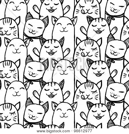 Seamless Pattern With Cute Hand Drawn Kittens